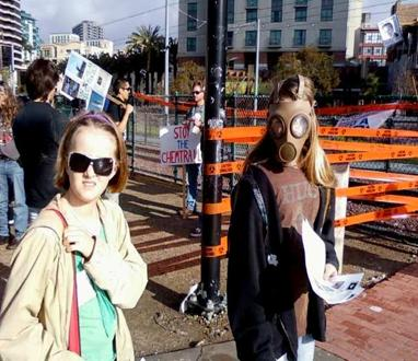 Protesters with masks